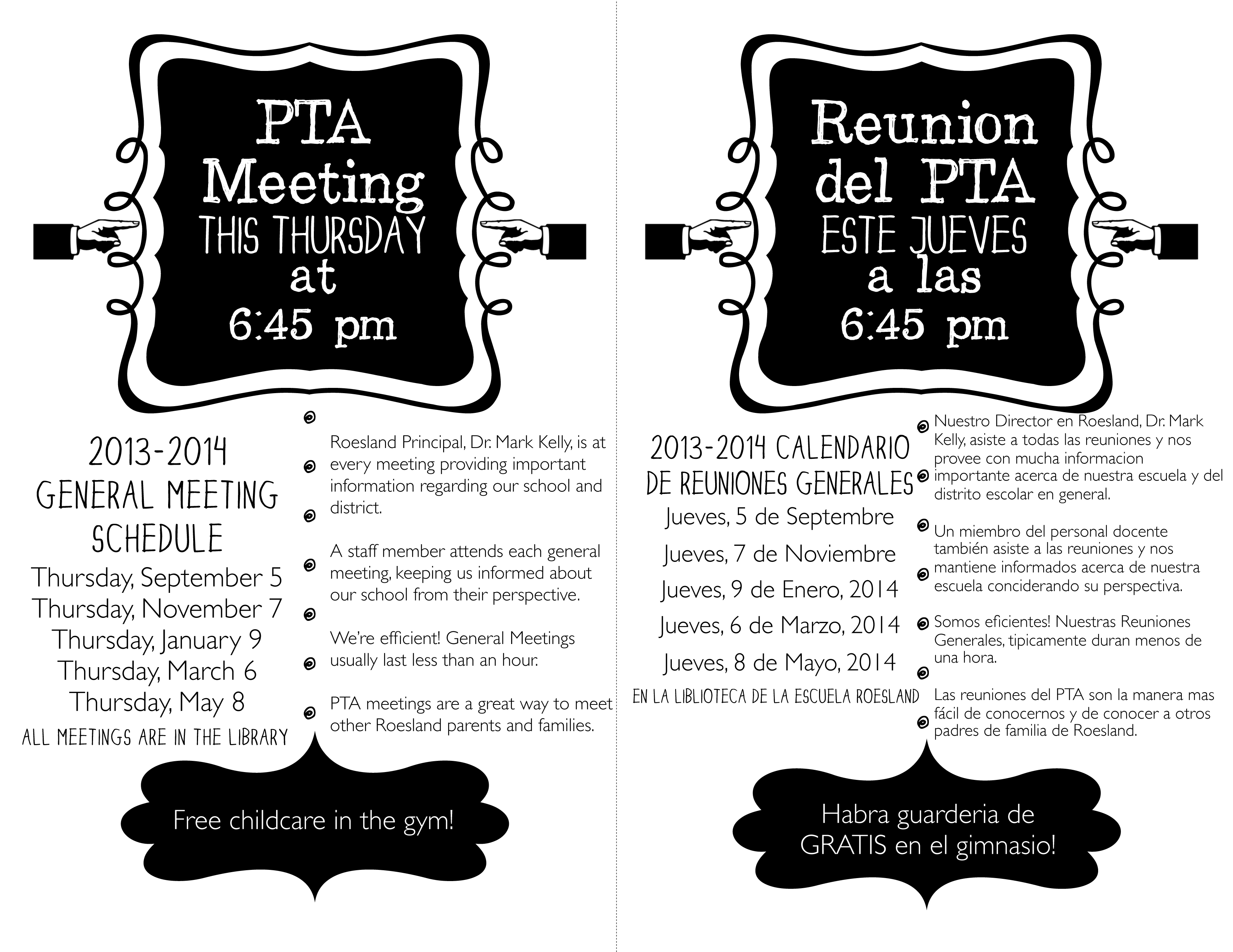 First Pta Meeting Of The Year Roesland Elementary Pta